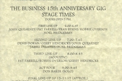 1996 - 15th Anniversary Schedule